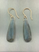 14 Karat Yellow Gold Labradorite Earrings