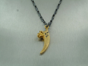 14 Karat Yellow Gold Black Diamond Eagle Claw Pendant