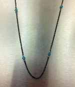 Blue Apatite Oxidized Necklace