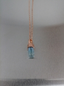 Aquamarine Crystal Pendant (14 Karat Rose Gold)