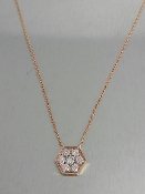 14 Karat Rose Gold Diamond Hexagon Necklace (0.30ct)