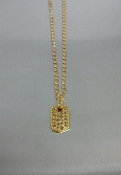 14 Karat Yellow Gold Champagne Diamond Dog Tag Necklace (0.33ct)