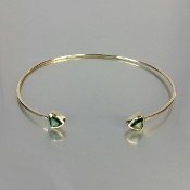 14 Karat Yellow Gold Green Tourmaline Bangle (5mm)