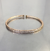 18 Karat Rose Gold Rope Design Diamond Bangle (0.40ct)