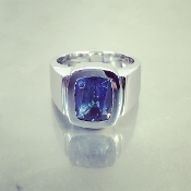 14 Karat White Gold Cushion Cut Tanzanite Ring