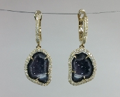 14 Karat Yellow Gold Geode Diamond Earrings (0.38ct)