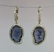14 Karat Yellow Gold Geode Diamond Earrings (0.43ct)