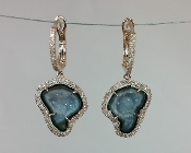 14 Karat Rose Gold Geode Diamond Earrings (0.39ct)
