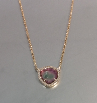 14 Karat Rose Gold Watermelon Tourmaline Dia. Necklace (0.05ct)