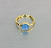 Blue Chalcedony Ring (7x7mm)