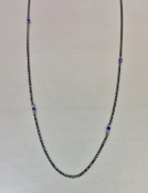 Blue Sapphire Silver Oxidized Necklace