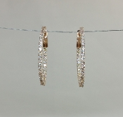 14 Karat Rose Gold Diamond Hoop Earrings (0.80ct)