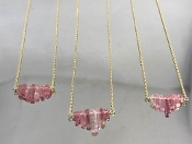 Pink Tourmaline Crystal Necklace