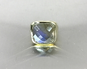 18 Karat Yellow Gold Labradorite Ring (15x15mm)