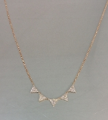 14 Karat Rose Gold Multi Triangle Diamond Necklace (0.24ct)