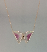14 Karat Rose Gold Watermelon Tour. Diamond Butterfly Necklace