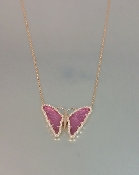 14 Karat Rose Gold Pink Tourmaline Diamond Butterfly Necklace