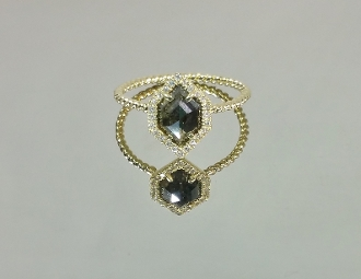 14 Karat Yellow Gold Gray Diamond Ring