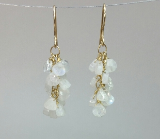 Rainbow Moonstone Multi Drop Earrings