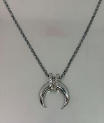 Champagne Diamond Reversed Crecent Bull Horn Necklace