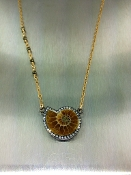 Ammonite Fossil Diamond Necklace