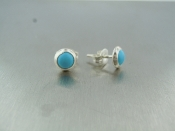 Reconstituted Turquoise Stud Earrings (6mm)