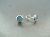 Lab Created Opal Stud Earrings (4.5mm)