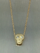 14 Karat Gold Diamond Skull Necklace