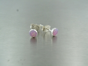 Lab Created Pink Opal Stud Earrings (4mm)