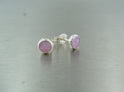 Lab Created Pink Opal Stud Earrings (6mm)