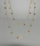 14 Karat Yellow Gold Multi-Color Sapphire Long Necklace