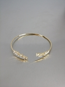 14 Karat Yellow Gold Diamond Cuff Bangle