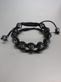 Black Crystal Macrame Bracelet - Large