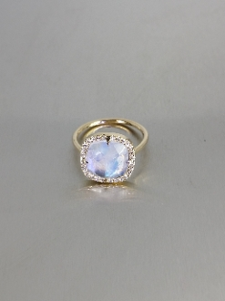 14 Karat Yellow Gold Rainbow Moonstone Diamond Ring (0.35ct)