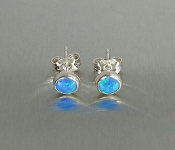 Lab Created Opal Stud Earrings (6mm)