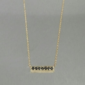 14 Karat Yellow Gold Black Diamond Bar Necklace (0.42ct)