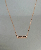 14 Karat Rose Gold Black Diamond Bar Necklace