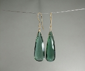 Emerald Hydro Quartz Earrings (10x30mm)