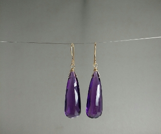 Purple Quartz Earrings (10x30mm)