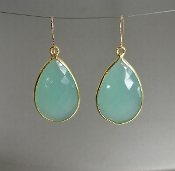 Chalcedony Earrings - (20x30mm)