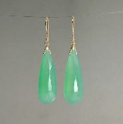 Green Chalcedony Earrings (10x30mm)