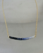 Blue and White Sapphire Bar Necklace