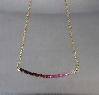 "Ruby/Pink Sapphire Graduated Bar Necklace (2"" bar)"