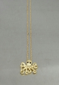 14 Karat Yellow Gold Black Diamond Octopus