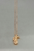 14K Rose Gold Black Diamond Seahorse Necklace