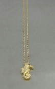 14 Karat Yellow Gold Black Diamond Seahorse Pendant