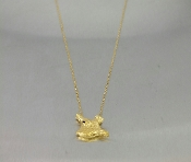 14 Karat Yellow Gold Black Diamond Longhorn Cowfish Pendant