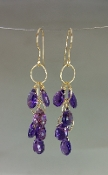Amethyst Multi-Drop Earrings-(35mm)