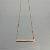 18 Karat Rose Gold Plated Bar Necklace