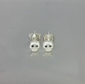 Black Diamond Skull Earrings - Silver